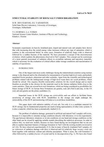iaea cn 78/23 structural stability of rock salt under ... - BVSDE