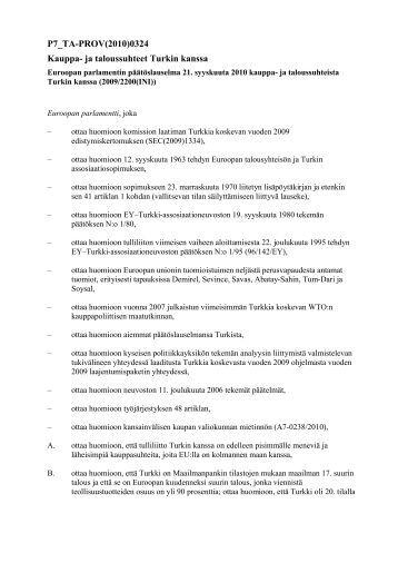 P7_TA-PROV(2010)0324 Kauppa- ja taloussuhteet Turkin kanssa