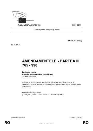 RO RO AMENDAMENTELE - PARTEA III - Europa