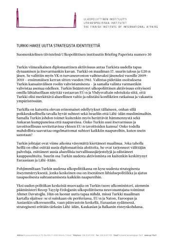 turkki hakee uutta strategista identiteettiä - Ulkopoliittinen instituutti