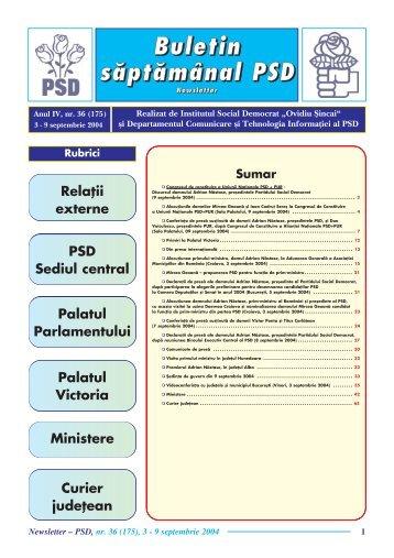 Newsletter nr. 36 - Fundatia Institutul Social Democrat Ovidiu Sincai