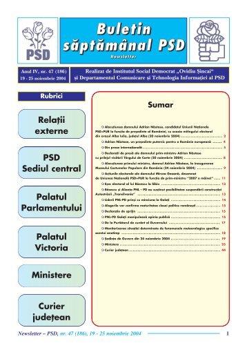 Newsletter nr. 47 - Fundatia Institutul Social Democrat Ovidiu Sincai