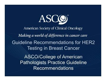 Guideline Recommendations for HER2 Testing in Breast Cancer ...