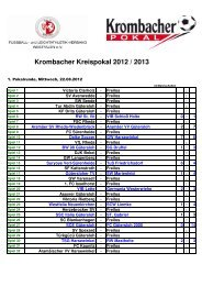 Spielplan Kreispokal 2012 - FLVW Kreis 34 - Gütersloh