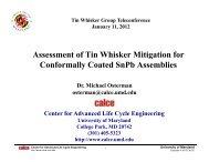 Tin Whisker Telecon Presentation - CALCE - University of Maryland