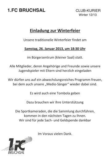 1.FC BRUCHSAL Einladung zur Winterfeier