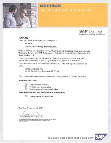SAP®Certified - Array Networks