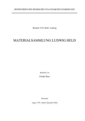 MATERIALSAMMLUNG LUDWIG HELD - Hessen