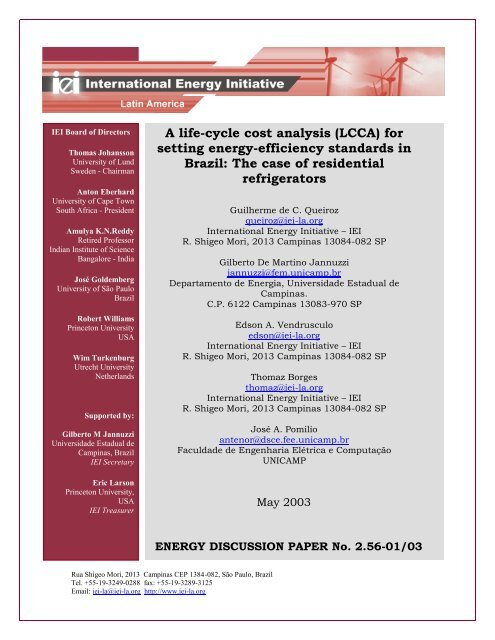 A life-cycle cost analysis lCCA for setting energy ... - Iei-la.org