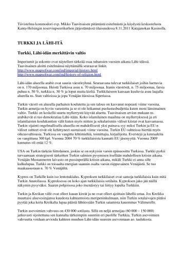 Tiivistelmä Mikko Taavitsaisen Turkki ja Lähi-itä -esitelmästä - Kanta ...