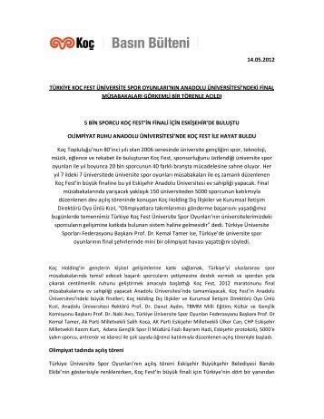 14.05.2012 türkiye koç fest üniversite spor oyunları - Koc Holding
