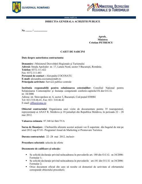 Caiet de sarcini - Ministerul Dezvoltarii Regionale si Administratiei ...