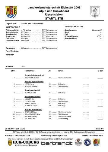 STARTLISTE Landkreismeisterschaft Eichstätt 2008 Alpin und ...
