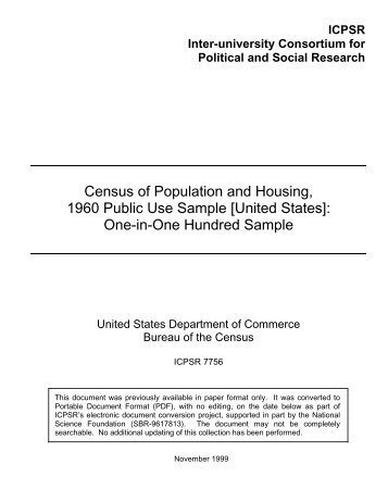 Census of Population and Housing, 1960 Public Use Sample ...