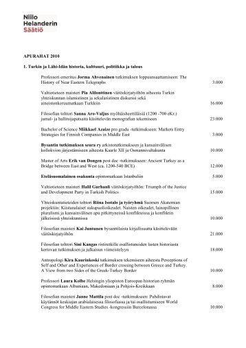 APURAHAT 2010 1. Turkin ja Lähi-Idän historia, kulttuuri, politiikka ...