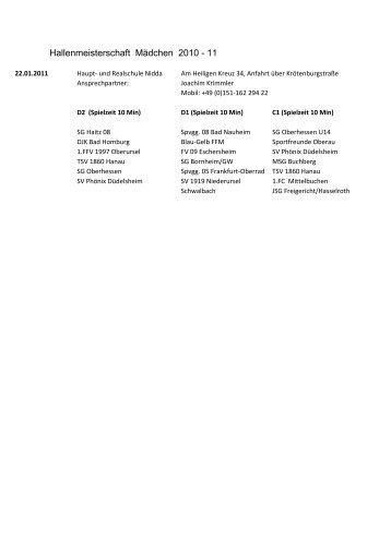 Hallenmeisterschaft Mädchen 2010 - 11 - Spvgg. 05 Frankfurt-Oberrad