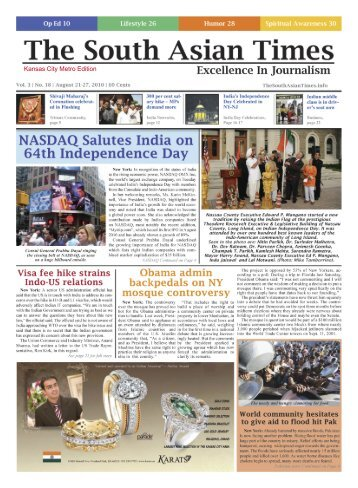 Volume 3, Issue 18 August 21-27, 2010 - The South Asian Times