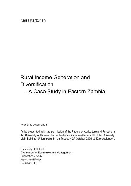 Rural Income Generation and Diversification - A Case Study ... - Doria