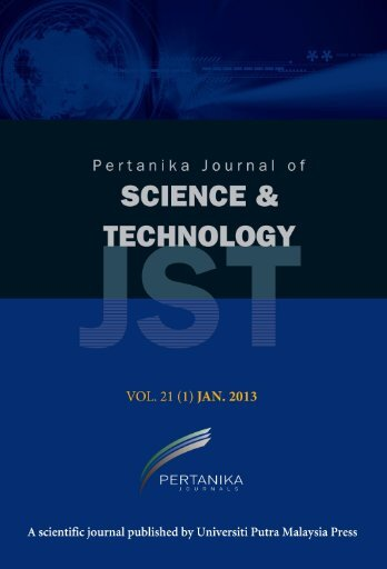 JST Vol. 21 (1) Jan. 2013 - Pertanika Journal - Universiti Putra ...