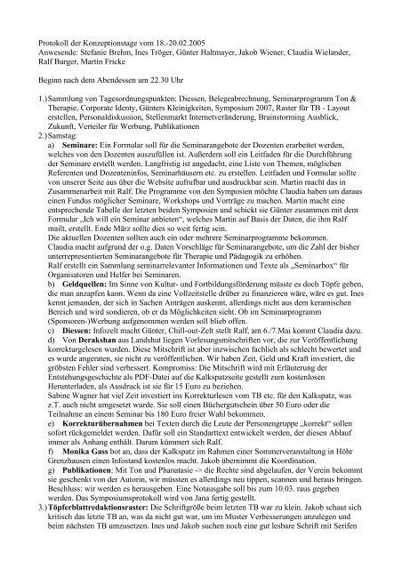 Protokoll der Konzeptionstage vom 18.-20.02.2005 Anwesende ...