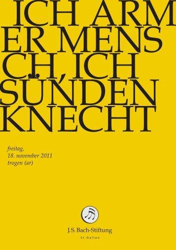 freitag, 18. november 2011 trogen (ar) - Bach Cantatas