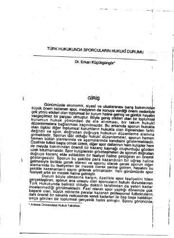 Türk Hukukunda Sporcuların Hukuki Durumu - Ankara Barosu
