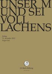 freitag, 21. dezember 2012 trogen (ar) - J. S. Bach-Stiftung