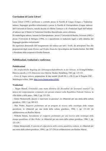 Curriculum di Lucia Udvari Pubblicazioni, traduzioni e conferenze