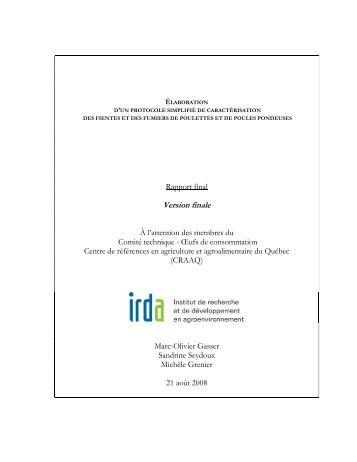 Pour chacun des paramètres à l'étude (MS - IRDA
