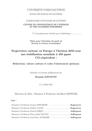 UNIVERSITE PARIS-DAUPHINE Trajectoires carbone en Europe `a ...