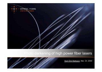 Photo darkening of high-power fiber lasers - OFC/NFOEC