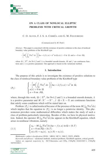 On a class of nonlocal elliptic problems with critical growth - Ele-Math