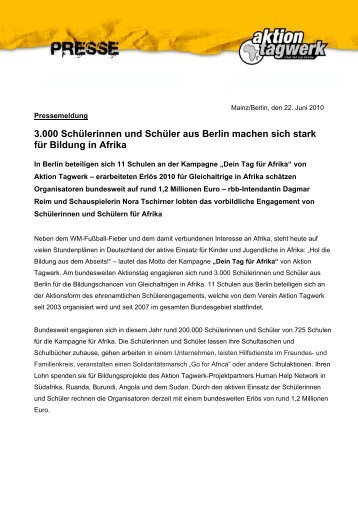 Aktion Tagwerk - Berlin - beim rbb