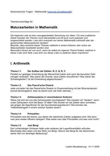 Maturaarbeiten in Mathematik I. Arithmetik - Kantonsschule Trogen