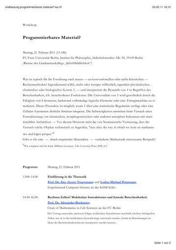 Programm mit Abstracts - Fachbereich Philosophie und ...