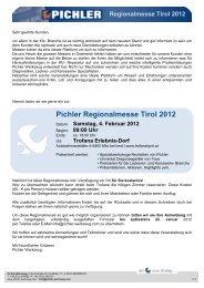 Pichler Regionalmesse Tirol 2012 - bei PICHLER WERKZEUG