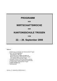 PROGRAMM WIRTSCHAFTSWOCHE KANTONSSCHULE ...