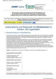 Leitsymptome und Diagnostik der Hirntumoren im Kindes ... - AWMF