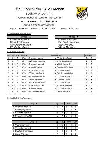 Sonntag, 20.01.2013 ab 10.00 Uhr E2-Junioren - FC Concordia ...