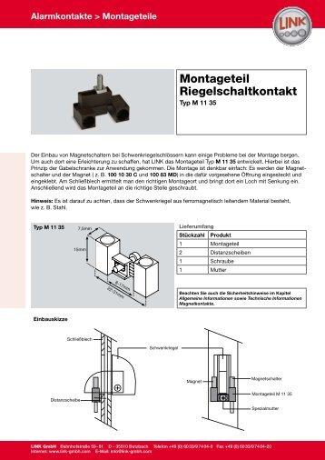Montageteil Riegelschaltkontakt - LINK GmbH