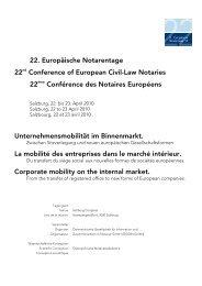 22. Europäische Notarentage 22nd Conference of European Civil ...