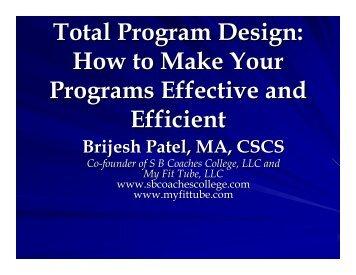 Total Program Design: How to Make Your Programs Effective ... - sbc