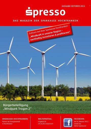 """Bürgerbeteiligung """"Windpark Trogen 2"""" - Sparkasse Hochfranken"""