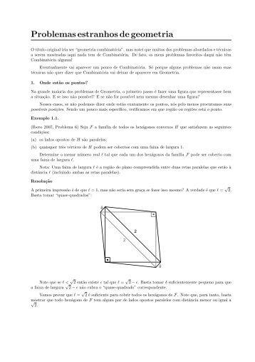 Problemas estranhos de geometria
