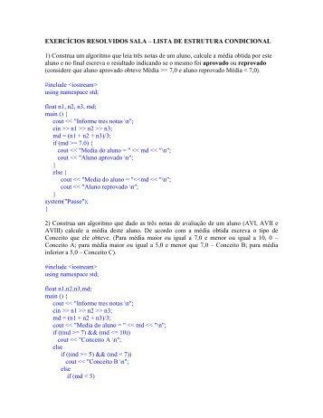 EXERCÍCIOS RESOLVIDOS SALA – LISTA DE ... - Webnode