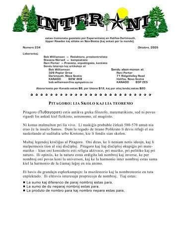 234, Oktobro 2005 (.pdf-a versio) - Esperanto en Kanado