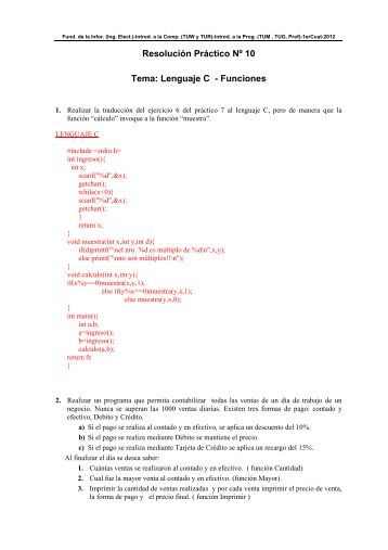 Resolución Práctico Nº 10 Tema: Lenguaje C - Funciones