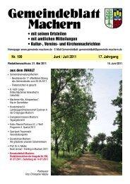 Amtsblatt Nr. 199 Juni 2011 - Gemeinde Machern