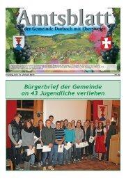 Bürgerbrief der Gemeinde an 43 Jugendliche verliehen - Durbach