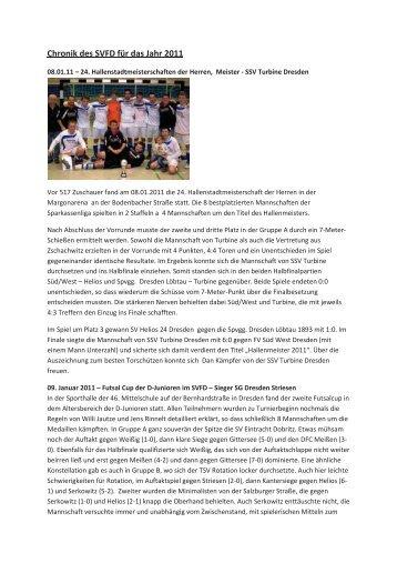 Chronik des Jahres 2011 - Stadtverband Fußball Dresden eV